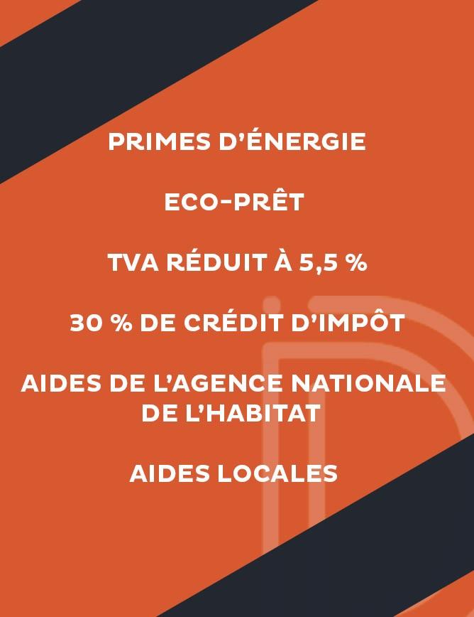 Primes d'énergie Eco-prêt TVA réduit à 5,5 % 30 % de crédit d'impôt Aides de l'Agence Nationale de l'Habitat Aides locales